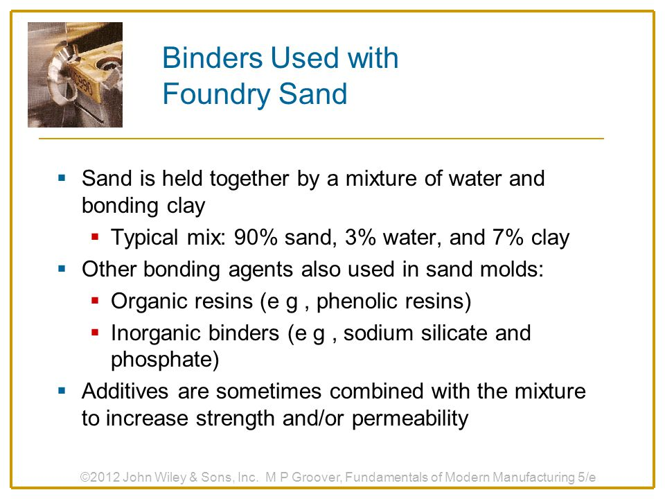 Binders Used with Foundry Sand