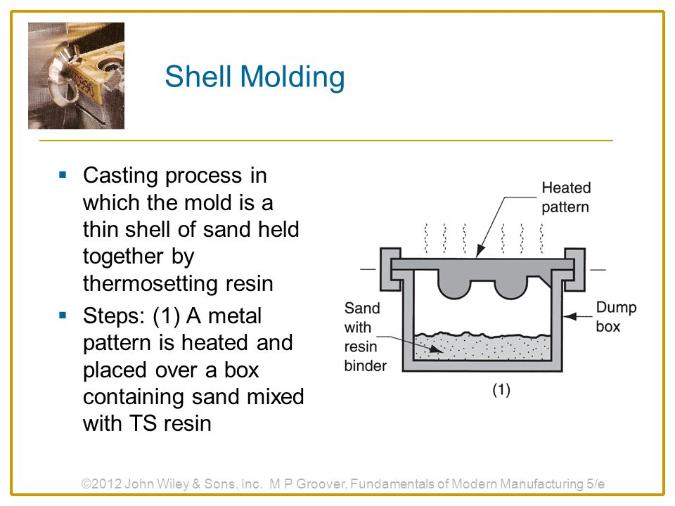 Shell Molding Casting process in which the mold is a thin shell of sand held together by thermosetting resin.