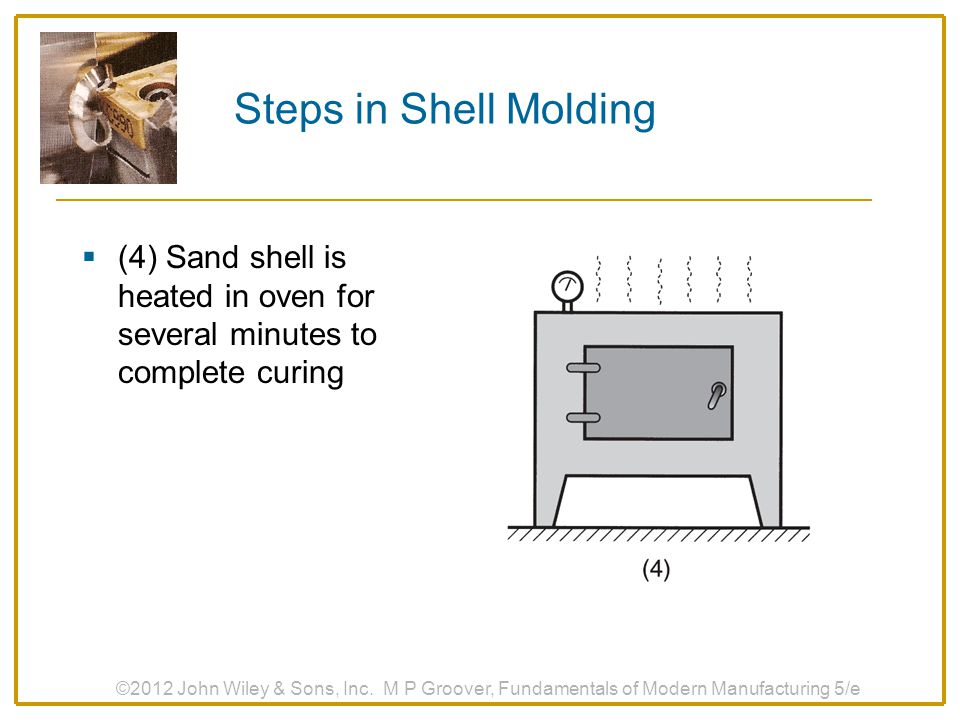 Steps in Shell Molding (4) Sand shell is heated in oven for several minutes to complete curing.