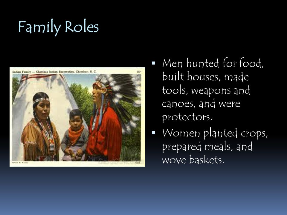 Family Roles Men hunted for food, built houses, made tools, weapons and canoes, and were protectors.