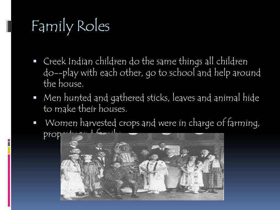 Family Roles Creek Indian children do the same things all children do--play with each other, go to school and help around the house.