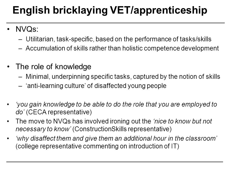 English bricklaying VET/apprenticeship