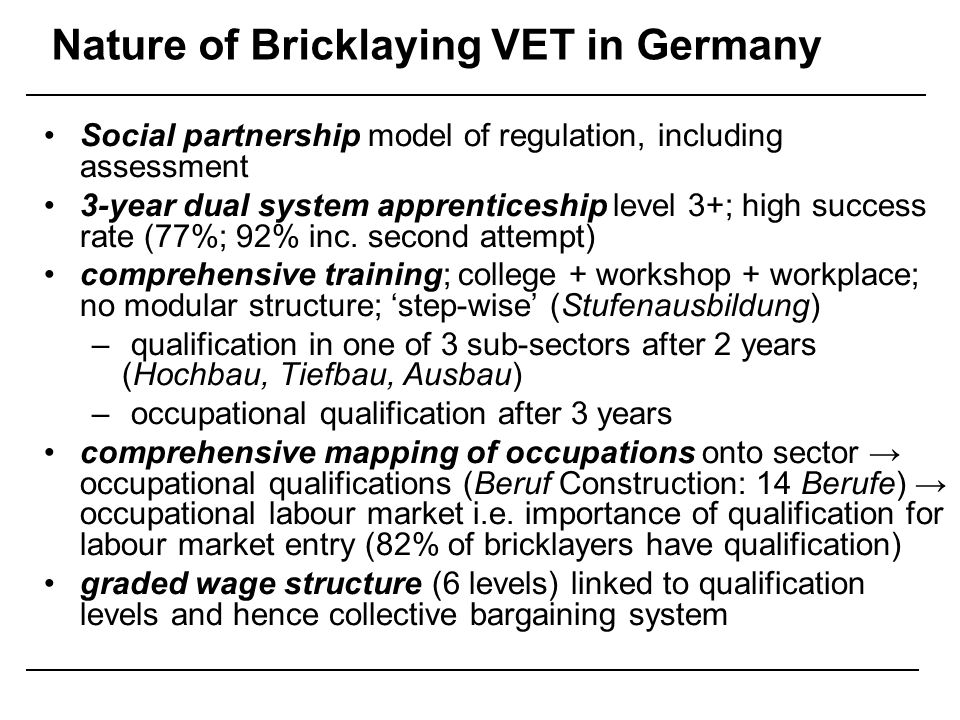 Nature of Bricklaying VET in Germany