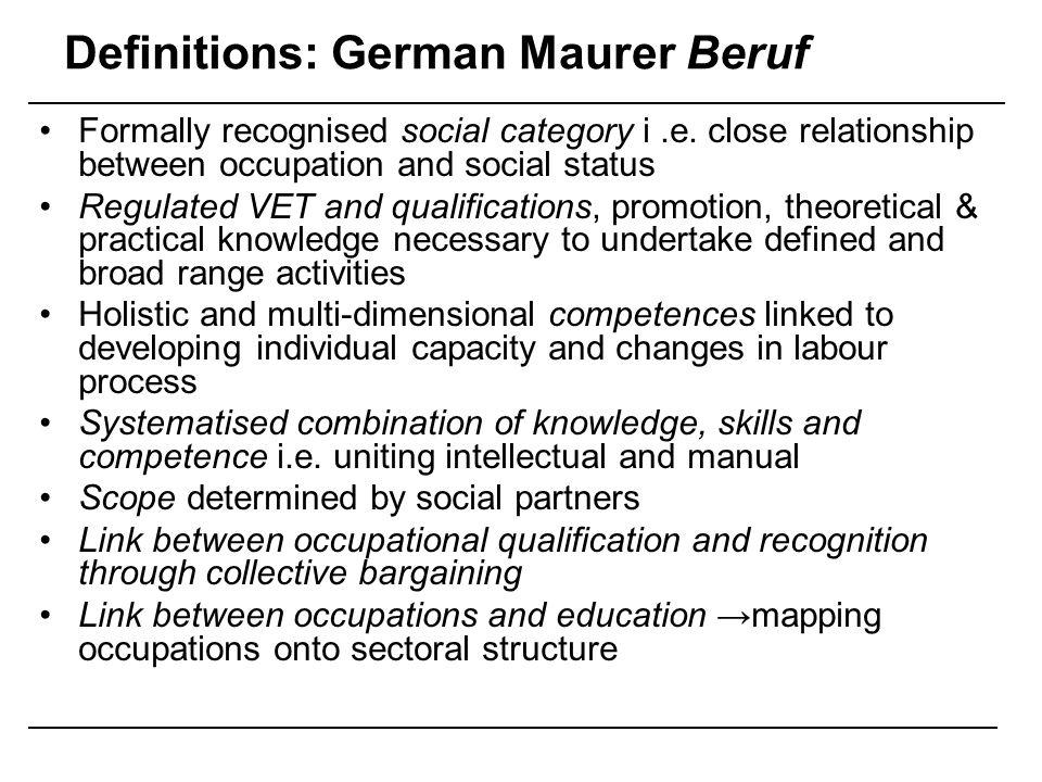 Definitions: German Maurer Beruf