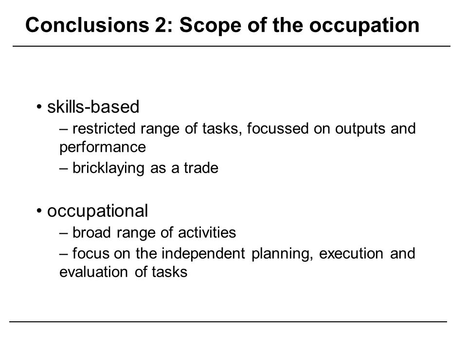 Conclusions 2: Scope of the occupation