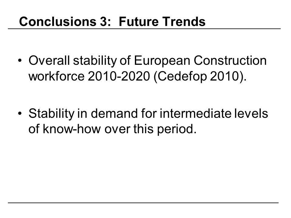 Conclusions 3: Future Trends