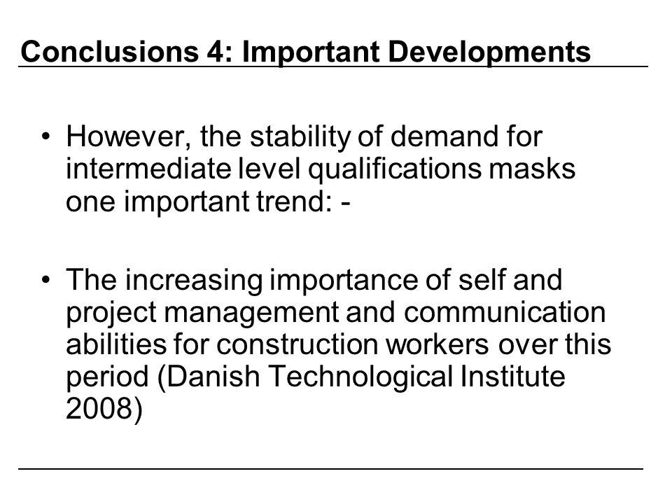 Conclusions 4: Important Developments