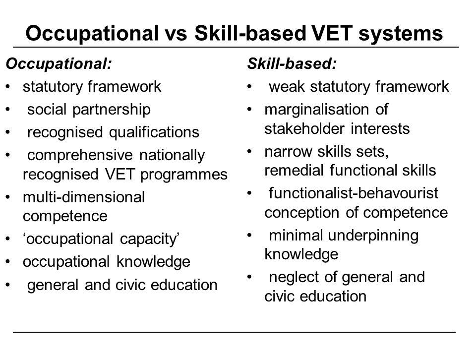 Occupational vs Skill-based VET systems