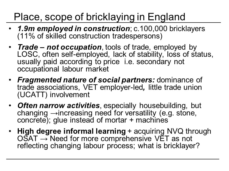 Place, scope of bricklaying in England