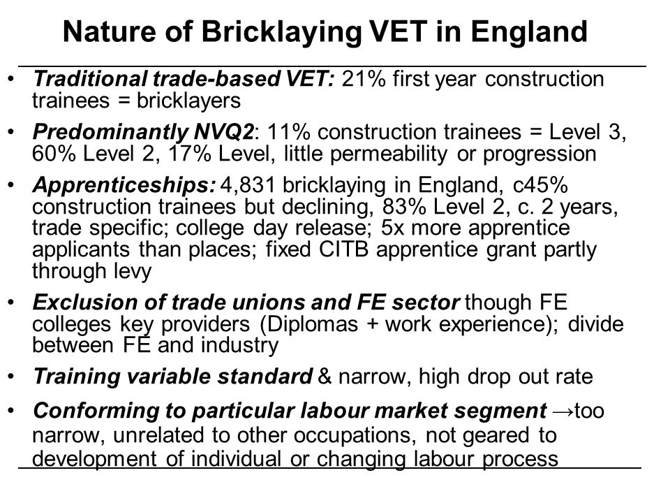 Nature of Bricklaying VET in England
