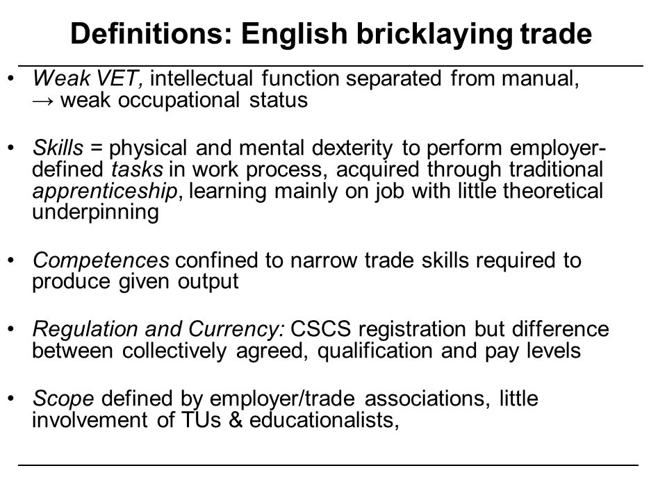 Definitions: English bricklaying trade