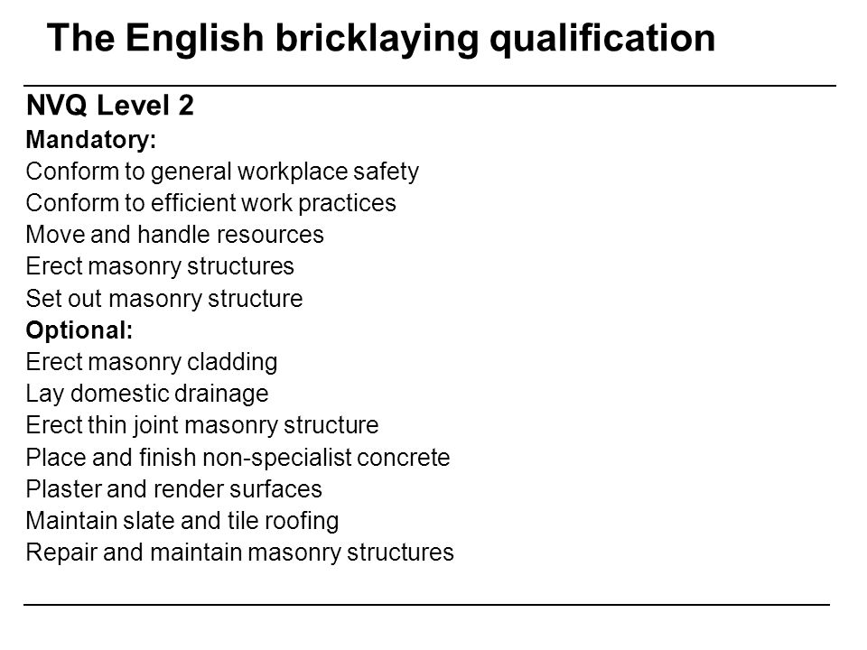 The English bricklaying qualification