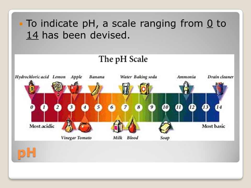 To indicate pH, a scale ranging from 0 to 14 has been devised.