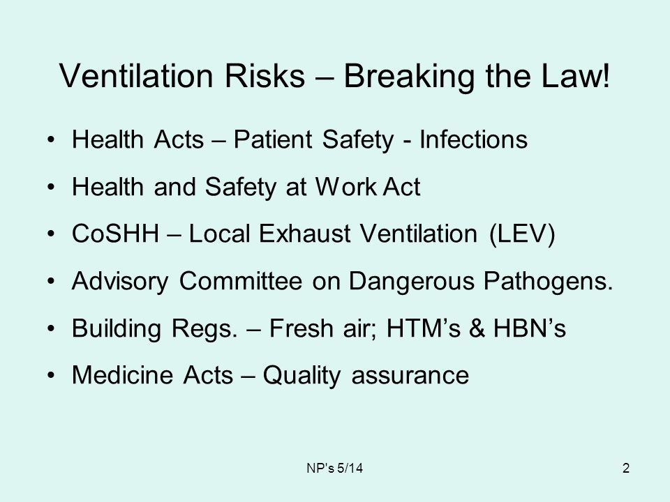 Ventilation Risks – Breaking the Law!