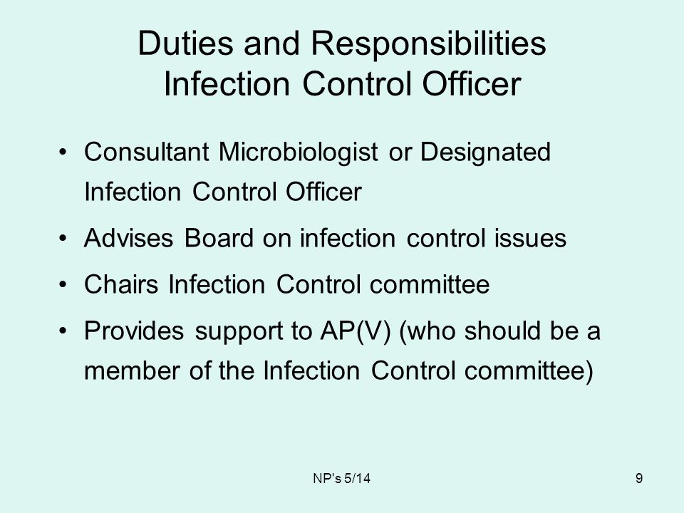 Duties and Responsibilities Infection Control Officer