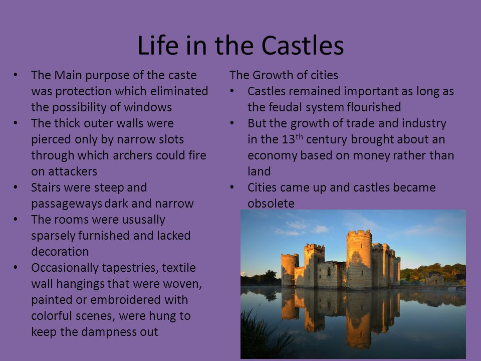 Life in the Castles The Main purpose of the caste was protection which eliminated the possibility of windows.