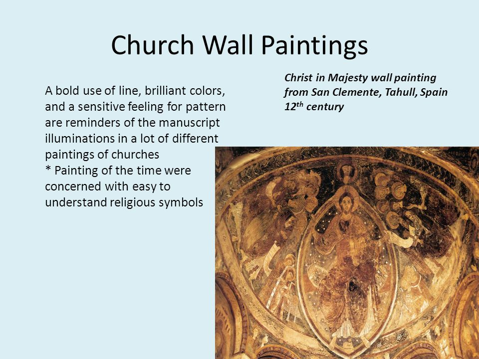 Church Wall Paintings Christ in Majesty wall painting from San Clemente, Tahull, Spain 12th century.