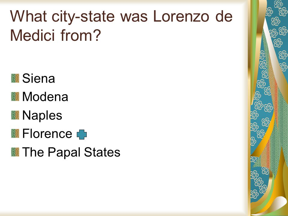 What city-state was Lorenzo de Medici from