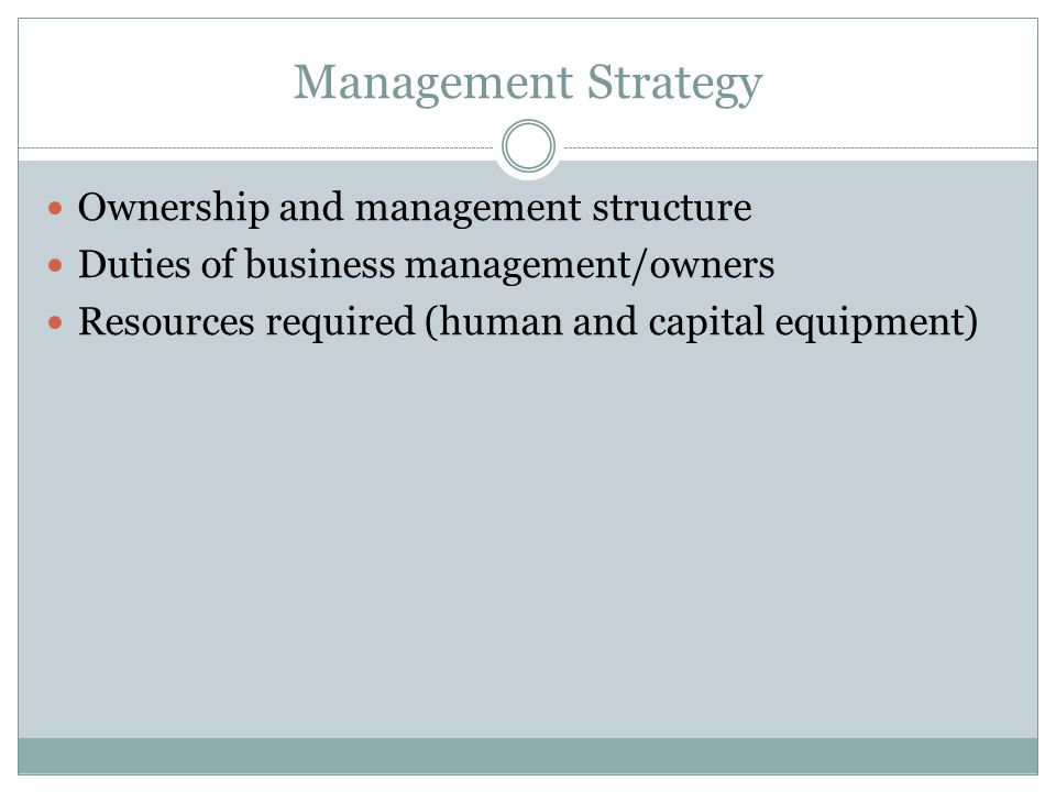 Management Strategy Ownership and management structure