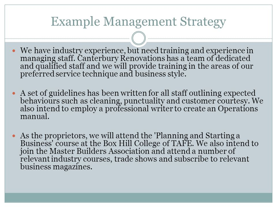 Example Management Strategy
