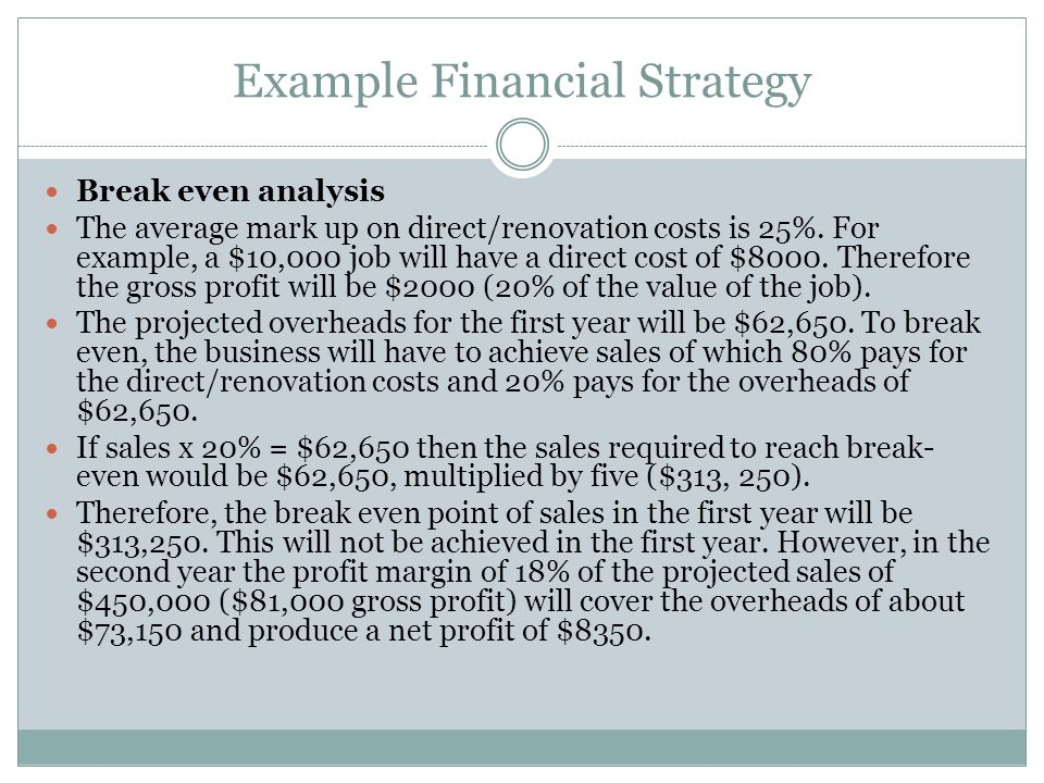 Example Financial Strategy