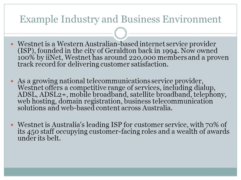 Example Industry and Business Environment