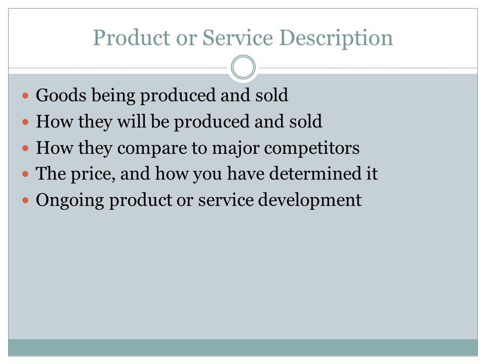 Product or Service Description
