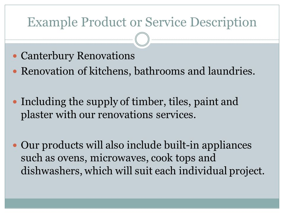 Example Product or Service Description