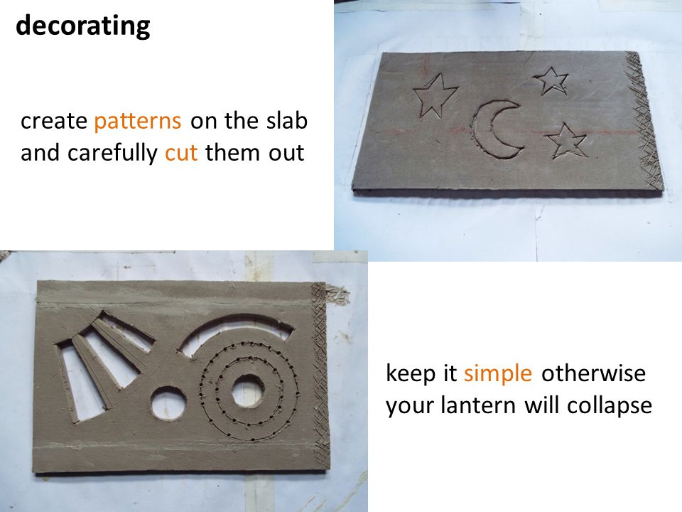 decorating create patterns on the slab and carefully cut them out