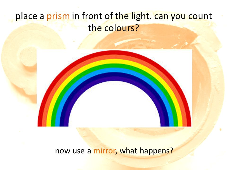 place a prism in front of the light. can you count the colours