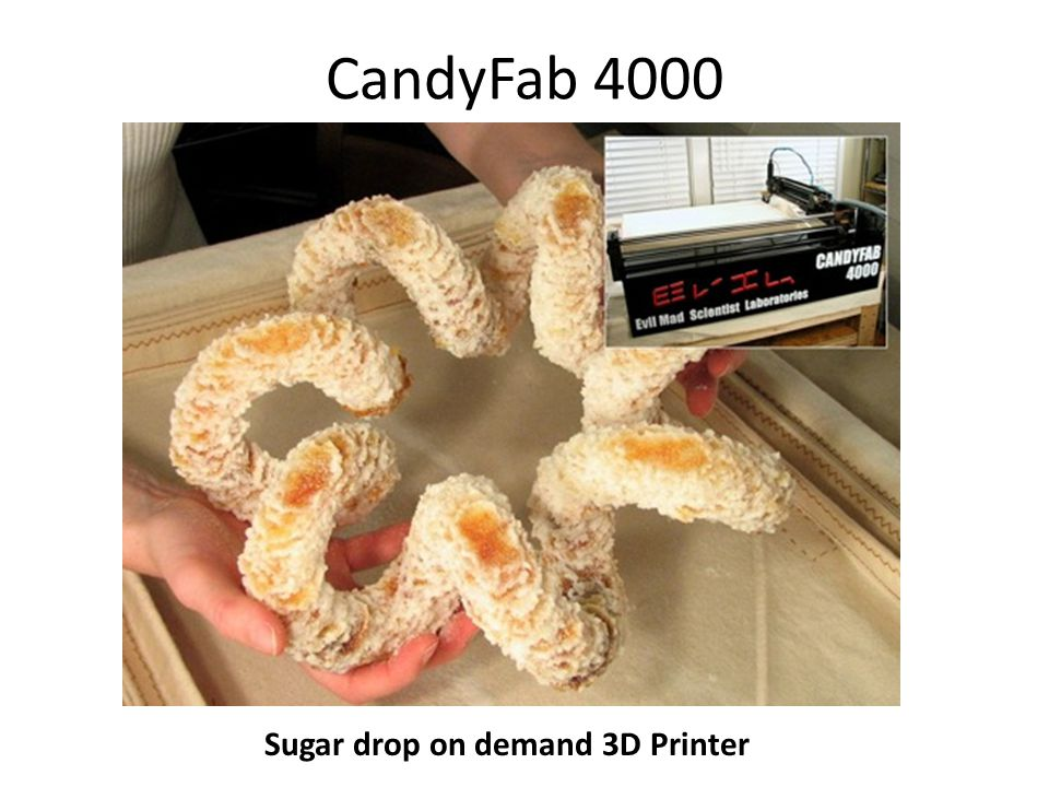 Sugar drop on demand 3D Printer