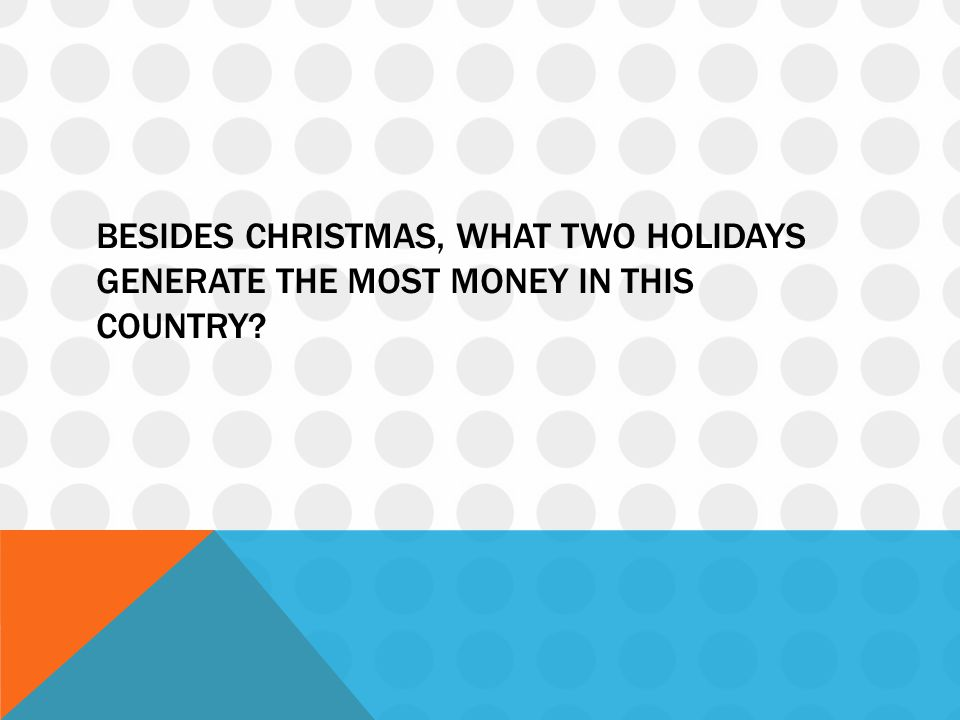 Besides Christmas, what two holidays generate the most money in this country