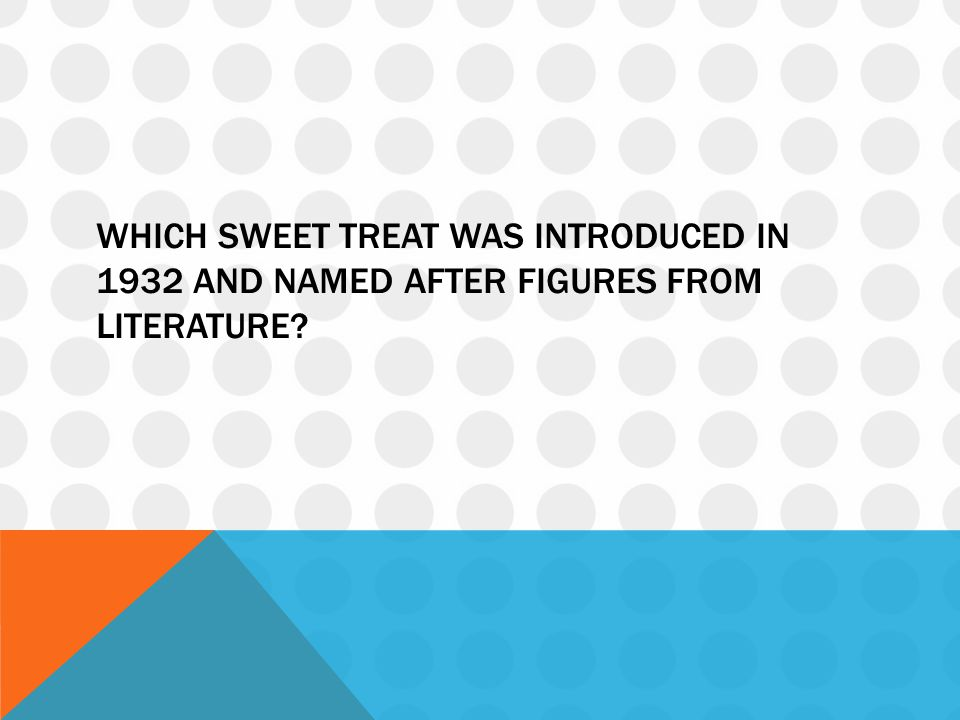 Which sweet treat was introduced in 1932 and named after figures from literature