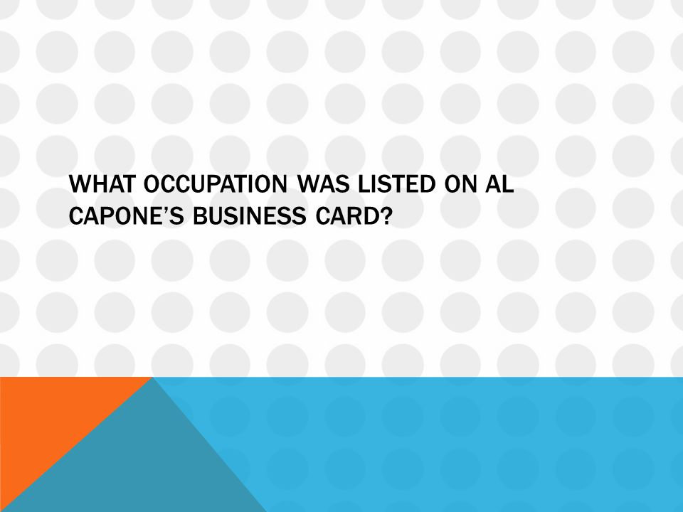 What occupation was listed on al capone's business card