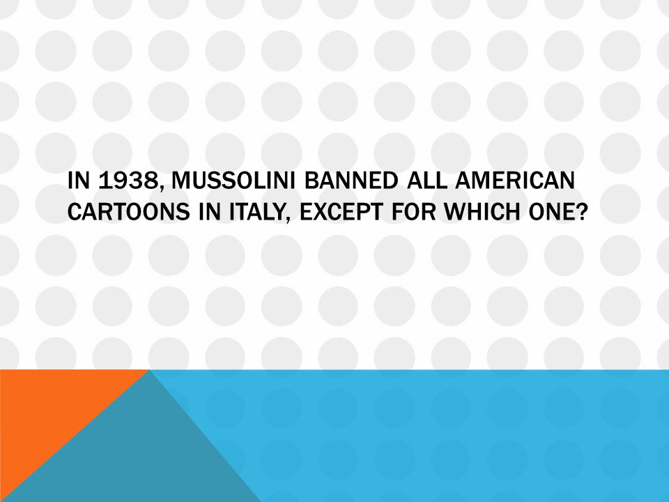 In 1938, Mussolini banned all American cartoons in Italy, except for which one