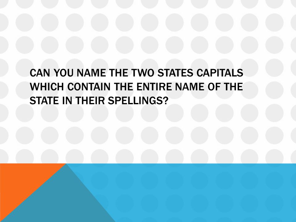 Can you name the two states capitals which contain the entire name of the state in their spellings