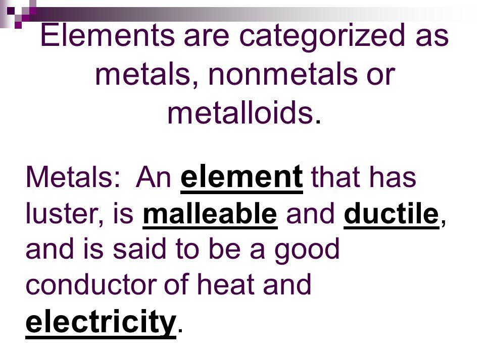 Elements are categorized as metals, nonmetals or metalloids.