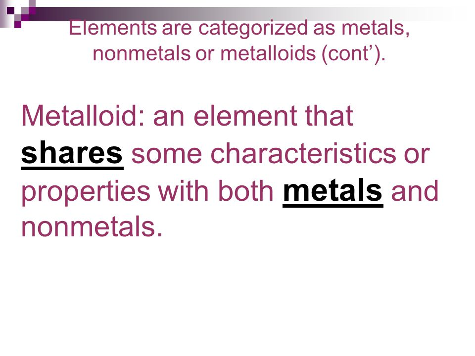 Elements are categorized as metals, nonmetals or metalloids (cont').