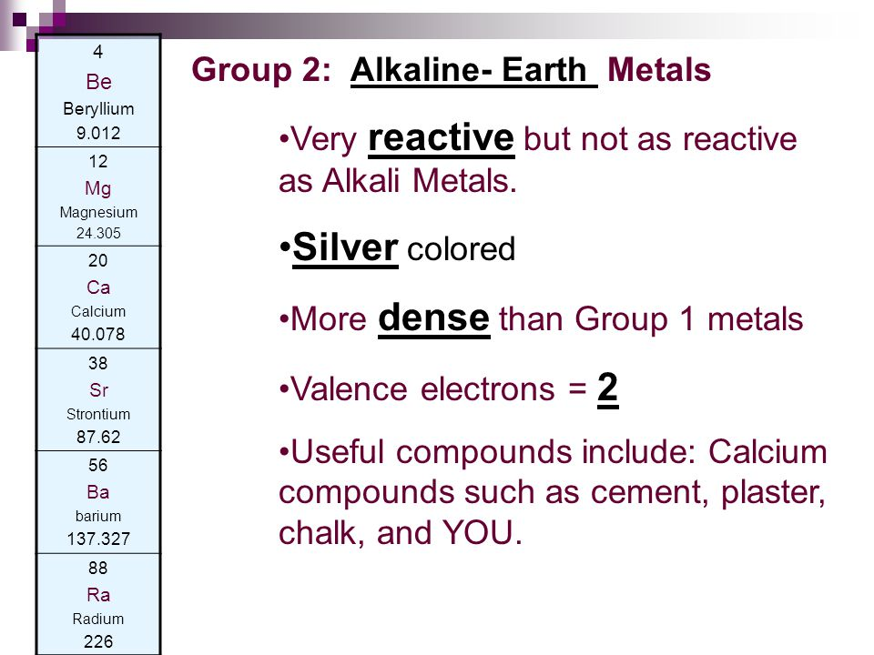Silver colored Group 2: Alkaline- Earth Metals