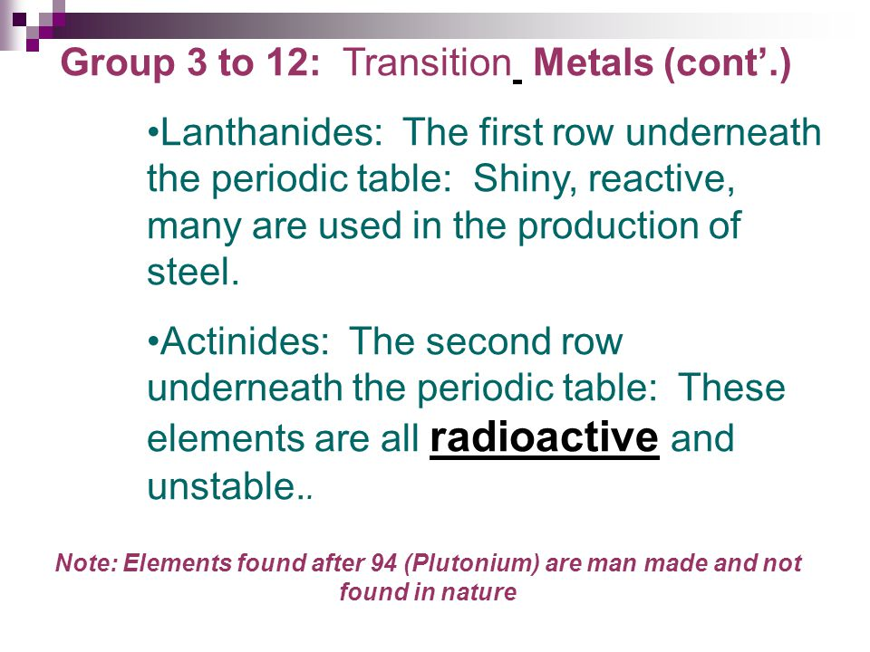 Group 3 to 12: Transition Metals (cont'.)