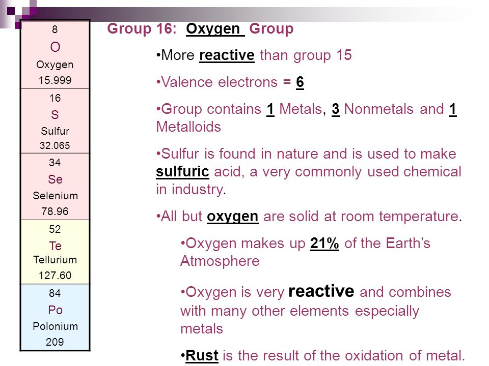 More reactive than group 15 Valence electrons = 6