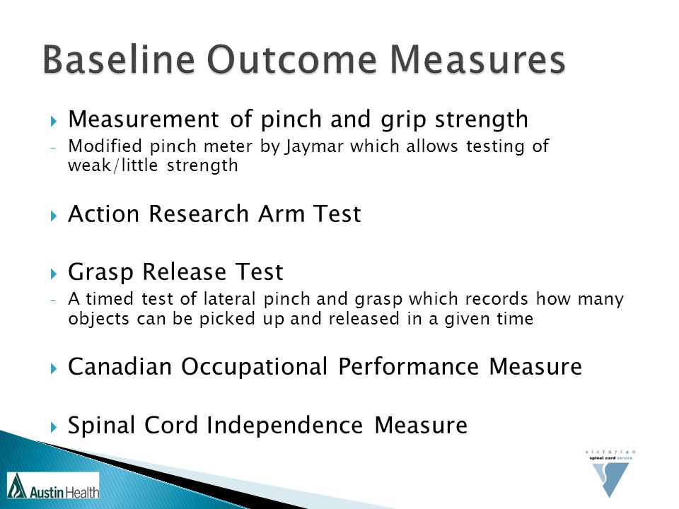 Baseline Outcome Measures