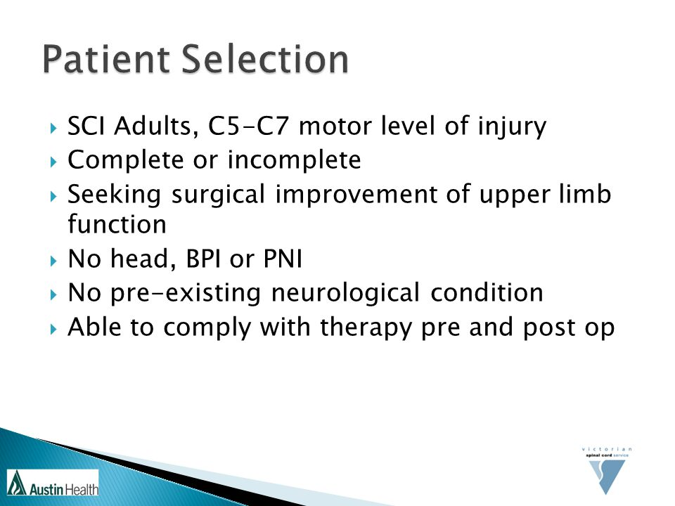 Patient Selection SCI Adults, C5-C7 motor level of injury