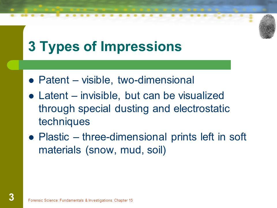3 Types of Impressions Patent – visible, two-dimensional