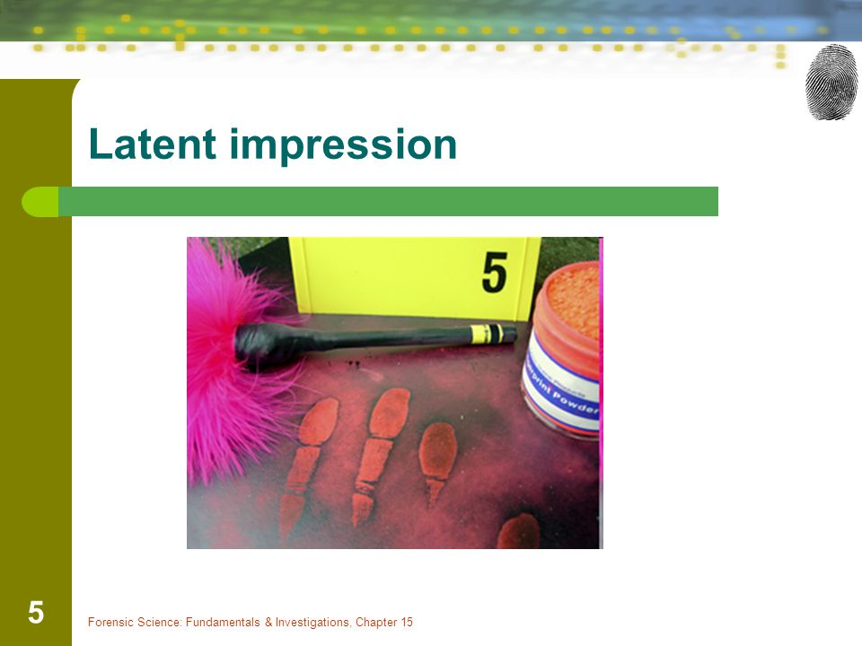 Latent impression Forensic Science: Fundamentals & Investigations, Chapter 15