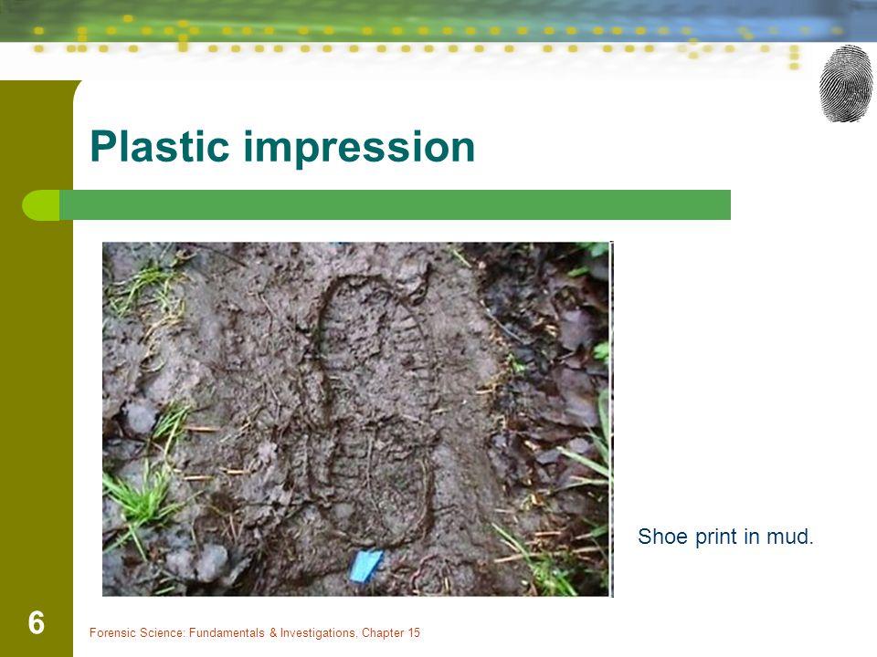 Plastic impression Shoe print in mud.