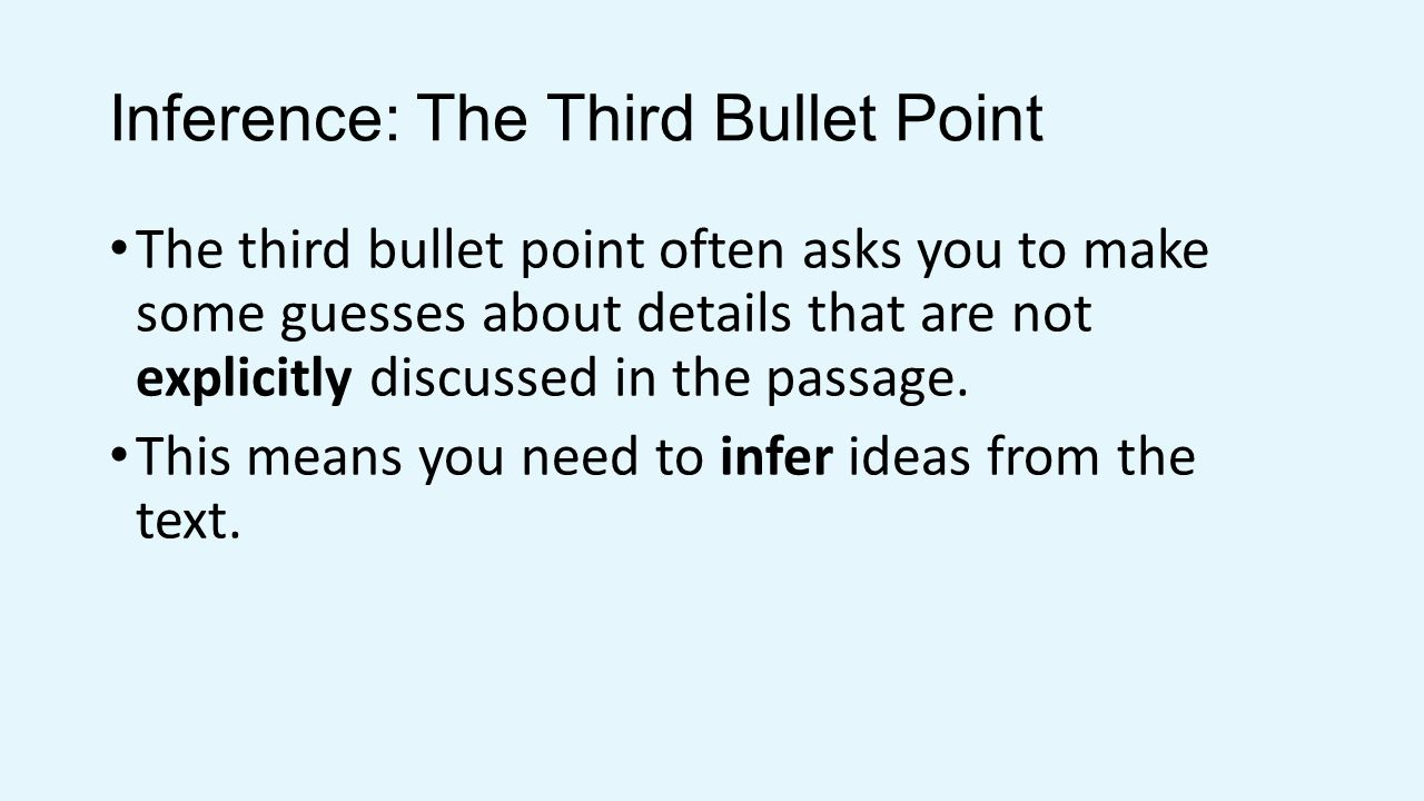 Inference: The Third Bullet Point