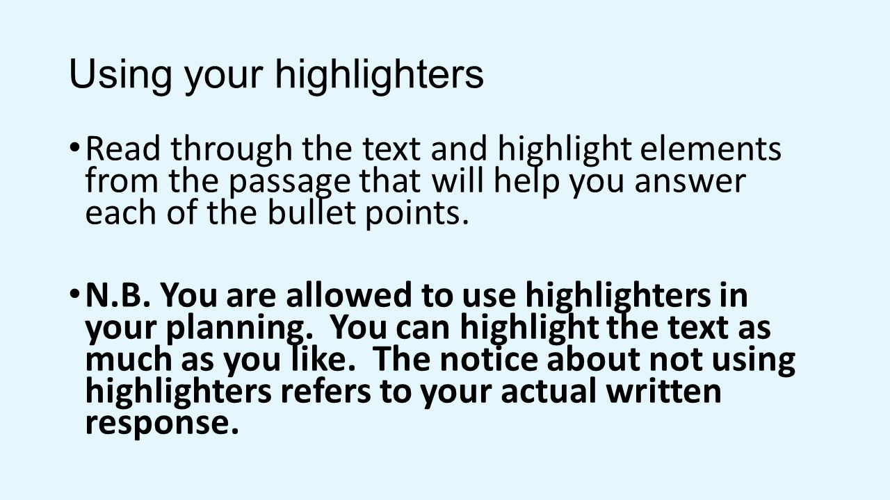 Using your highlighters