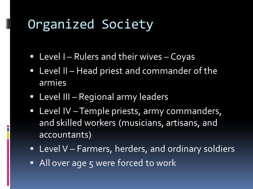 Organized Society Level I – Rulers and their wives – Coyas
