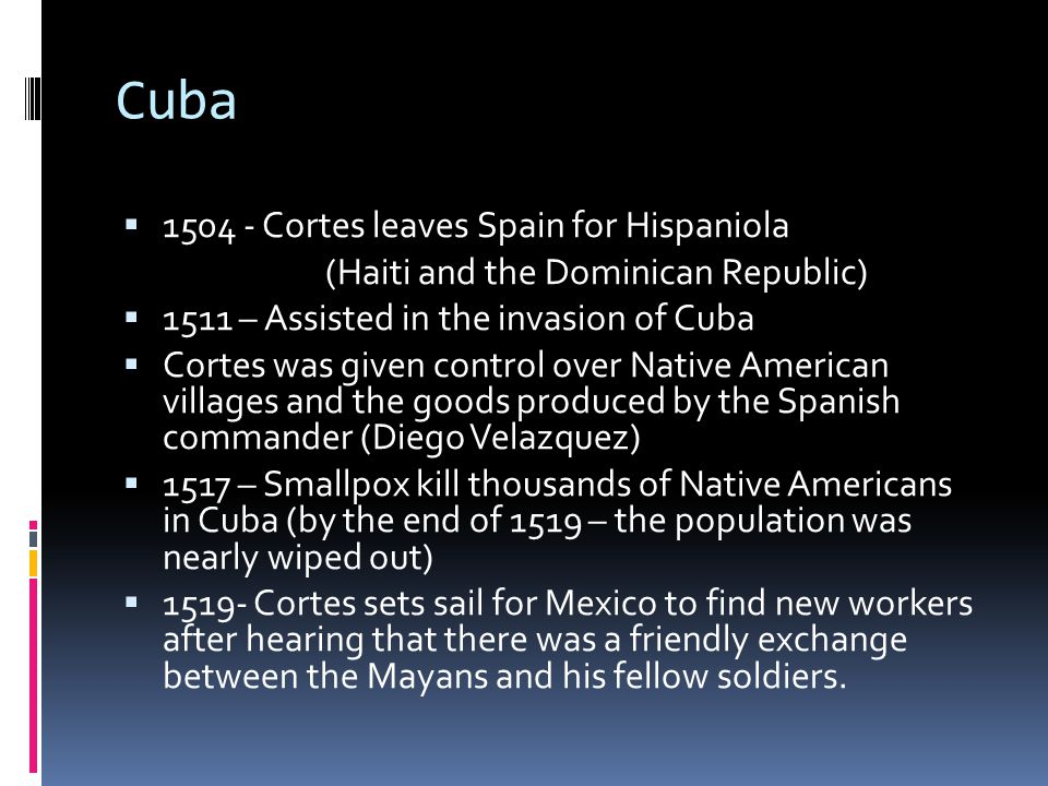 Cuba 1504 - Cortes leaves Spain for Hispaniola